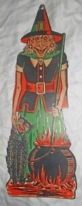 Vintage Beistle Die Cut Embossed Cardstock Halloween Witch-Cauldron-Black Cat-NR