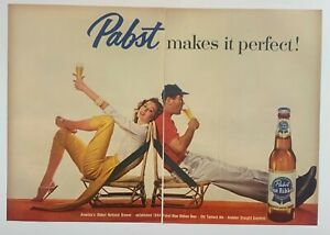 Original Print Ad 1957  PABST Blue Ribbon Beer Alcohol