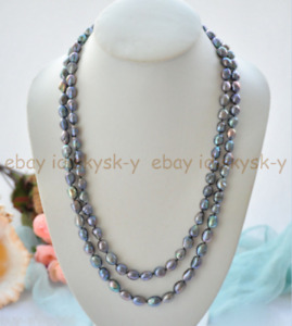 Genuine 7-8mm Natural Black Freshwater Cultured Baroque Pearl Necklace 36/48/64