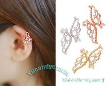 Made in Korea Unique Gem Butterfly non-pierced Ear bone Clip-on Cuff Rose Gold