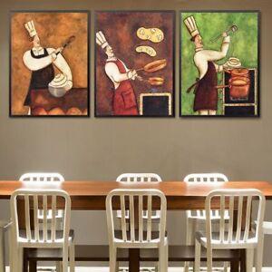 Restaurant Waiter Canvas Painting Coffee House Wall Art European Retro Kitchen P