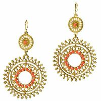 Filigree Round Disk Chandelier Gold Drop Coral Hook Earrings Grace Of New York