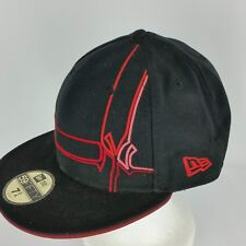 NY Yankees Fitted 7 3/4 Black Hat Red Design New Era Baseball Wool Hat or Cap