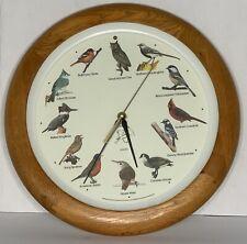 NATIONAL AUDUBON SOCIETY Quartz Singing Bird Clock Oak Wood 13 1/4'' Excellent
