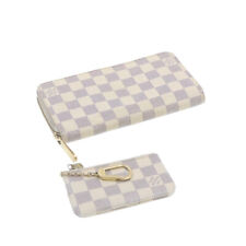 LOUIS VUITTON Damier Azur Pochette Cles Zippy Wallet 2Set LV Auth go012