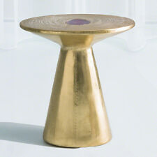 Natural Agate Hand Carved Gold Side Table