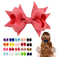 10pcs Kids Baby Girls Grosgrain Ribbon Boutique Bows Alligator Hairpin Clip