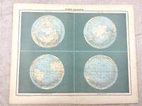 1894 Welt Antik Landkarte Globus South North Pol Polar Original 19th Jahrhundert