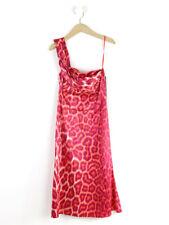 BNWT Just Cavalli Pink Animal Print Satin One Shoulder Dress Size  EU 42 (UK 10)