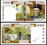 WEST AFRICAN STATES (WAS); IVORY COAST 10,000 10000 FRANCS 1999 P 114 ah UNC
