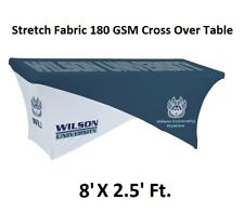 Custom Cross Over Table Cover for Tradeshow Expo Tablecloth Fits for 8Ft. Table
