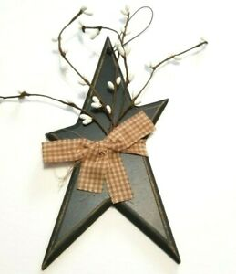 Primitive Rustic Star w/ Pip Berry Country Home Decor Gingham bow