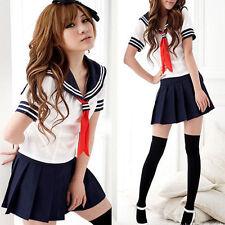Sexy Damen Anime Cosplay Schulmädchen Maid Costume Sailor Uniform Kleid Kostüm