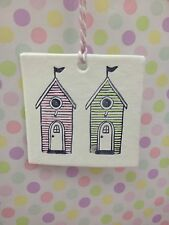 Hand Made Hanging 2 Beach Hut Plaque In Pale Pink And Green Great Gift