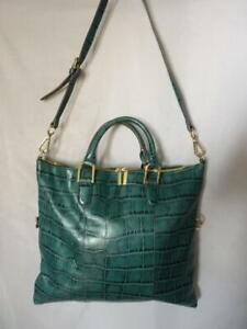 G.I.L.I. GOT IT LOVE IT GREEN CROC LEATHER CARRY ALL LARGE CROSSBODY BAG