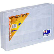 Pkt of 5 STORAGE BOXES 18 Compartment 310x200x48mm Large Clear Fischer 1H-094
