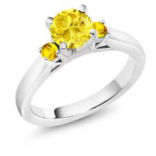 1.77 Ct Round Yellow Zirconia Yellow Sapphire 925 Sterling Silver 3-Stone Ring