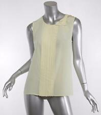 PRADA Womens Canary-Yellow Silk Pleated Bow Sleeveless Top Blouse 6-42 NWT $790