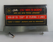 1960s Bally Slot Machine Glass Light Up Machine Jackpot Sign  coin op