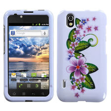 For LG Marquee HARD Protector Case Snap on Phone Cover Purple Small Flowers