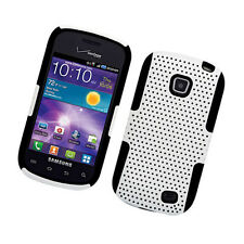 Samsung Galaxy Proclaim S720C MESH Hybrid Rubber Silicone Skin Case Cover White
