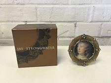 Jay Stongwater Swarovski Crystal & Enamel Agatha Round Picture Frame w/ Box