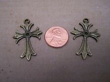 Lot of 2 Bronze Crosses Crucifixes for Jewelry - Mexico