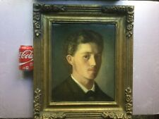 Fabulous Hungarian Anitque 19th Century oil Portrait of Young Man signed & dated