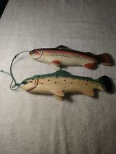 Stringer of 2 Hand Carved and Painted Ixoye Wooden Fish ~ 11 inches long