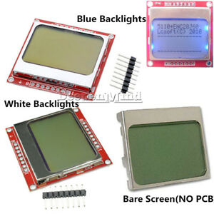 DIY White / Blue 84 * 48 Nokia 5110 LCD Display Screen Module Module For Arduino