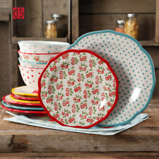 Vintage The Pioneer Woman Timeless Floral and Retro Dot 12-Piece Dinnerware Set
