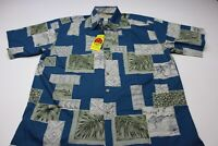 NWT Cooke Street Honolulu Blue Floral Hawaiian CAMP SHIRT Large L