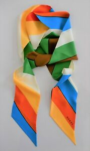 New Authentic GUCCI Multi-Colored STRIPED 100% SILK NARROW Scarf Oblong Neck Bow