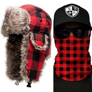 Salt Armour Lumberjack Red Plaid Trapper Hat + 1 Free Red Plaid Face Shield.