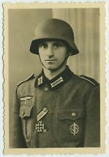 ORIGINAL WW2 GERMAN SMALL PORTRAIT PHOTOGRAPH WEHRMACHT SOLDIER WITH IRON CROSS