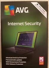 Brand New!!!  AVG Internet Security 2018 3 PCs, 1 Year Keycard