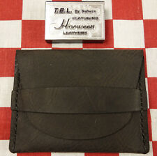 Horween Ebony Bison Leather One Pocket Flap Card Holder Wallet