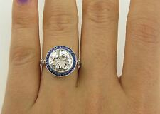 Certified 2.75ct Art Deco White Diamond & Blue Sapphire Engagement Ring 14k Gold