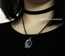 A Strati Teschio Nero Girocollo 3d Collana con ciondolo a forma di teschio di cristallo Gotico Costume Jewelr
