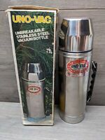 Vintage Uno-Vac 1 Quart Stainless Steel Unbreakable Vacuum Thermos *New in Box*