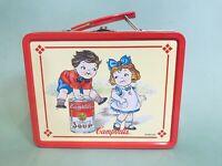 "Vintage 1998 Campbell's Soup Kids 8"" x 6"" x 3"" Metal Lunch Box Tomato Soup"