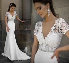 V Neck Short Sleeve Mermaid Wedding Dress White Ivory Lace Chiffon Bridal Gown