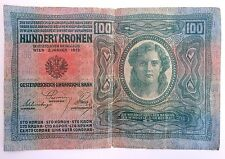 Antique 100 Kronen Banknote 1912 Austrian-Hungarian Bank World War I