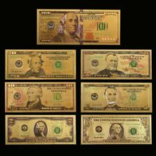 7PCS Gold Dollar Bill Full Set Gold Banknote Colorful USD SET 1/2/5/10/20/50/100
