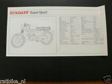 ZUNDAPP SUPER SPORT TECHNICAL INFOCARD BROMFIETS,MOPED,MOFA