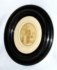 Ancienne Grande photographie Epoque Napoléon III Cadre ovale bois noirci 1850