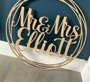 Personalised Wedding Wooden Script Name Hoop Circle Sign Wall Plaque Decor