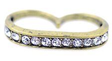 Punk goth vintage crystal bronze double finger ring