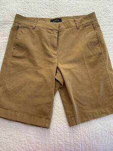 J Crew Bermuda Chino Shorts Womens Size 8 Khaki Tan Cotton Spandex Blend