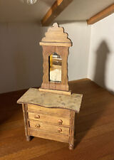 Vintage SHACKMAN Miniature Dollhouse DRESSER w/Mirror Wood Faux Marble